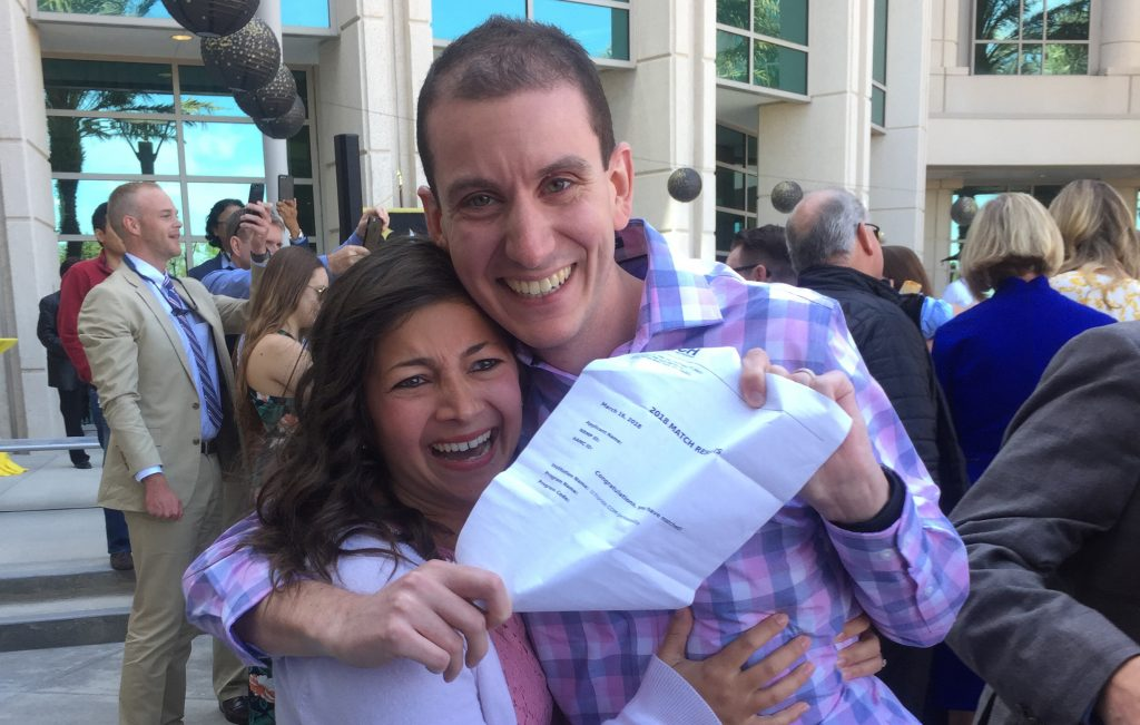 On Match Day, medical student Robert Lisac celebrated news of his pediatric residency with his wife, Brittany.