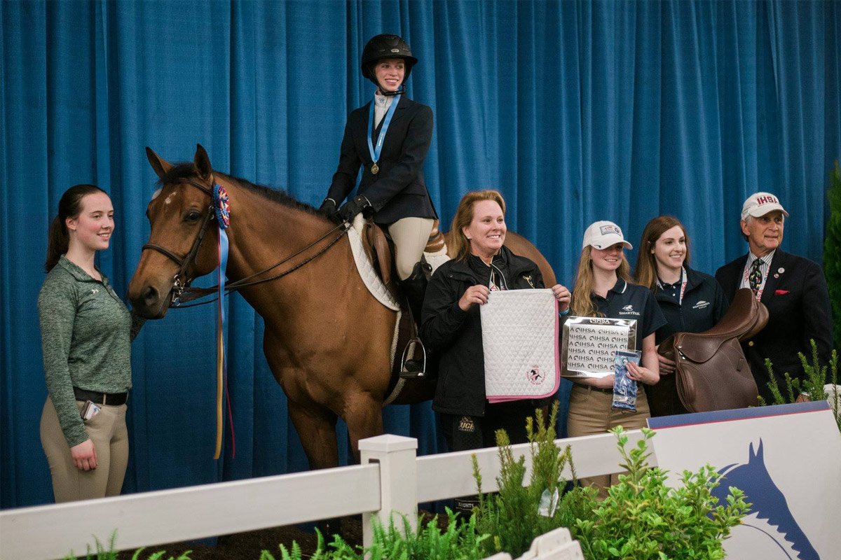 Molly Murtha won first place at the IHSA National Championship show. She is pictured here on the horse she rode in the Novice Flat division.