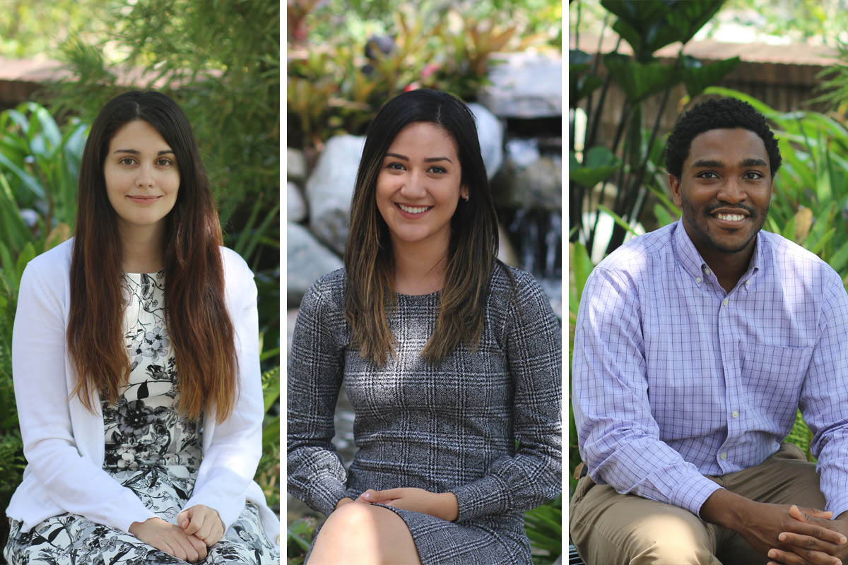 Rachael Rothstein-Safra '17 (left), Karla Aurazo (middle) and Caleb Archie (right) are three UCF students who recently received Boren Fellowships, which supports students pursuing careers in U.S. national security by funding immersive language and cultural studies.