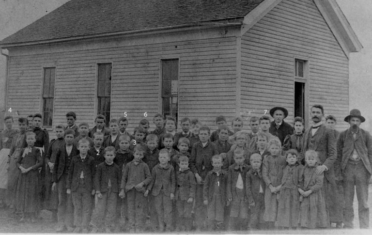 old photo of children outside school