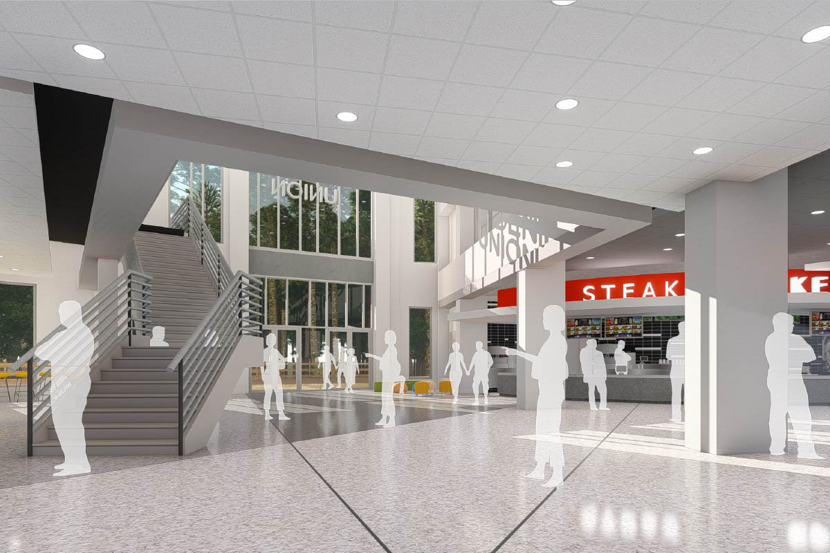 ucf student union rendering stairwell near the food court in the back of the building, leading to a new second-floor café and lounge