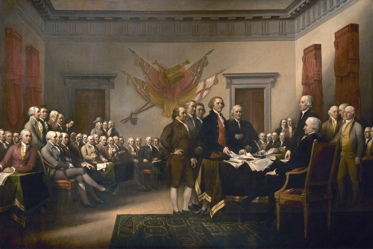 This painting by artist John Trumbull depicts the moment on June 28, 1776, when the first draft of the Declaration of Independence was presented to the Second Continental Congress. (Image courtesy of the Architect of the Capitol)