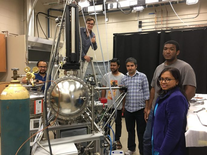 Madhab Neupane and his research team with the in-house ARPES system. From left to right: Gyanendra Dhakal (Graduate student), Klauss Dimitri (Undergraduate student), Md Mofazzel Hosen (Graduate student), Madhab Neupane, Christopher Sims (Graduate student), Firoza Kabir (Graduate student)