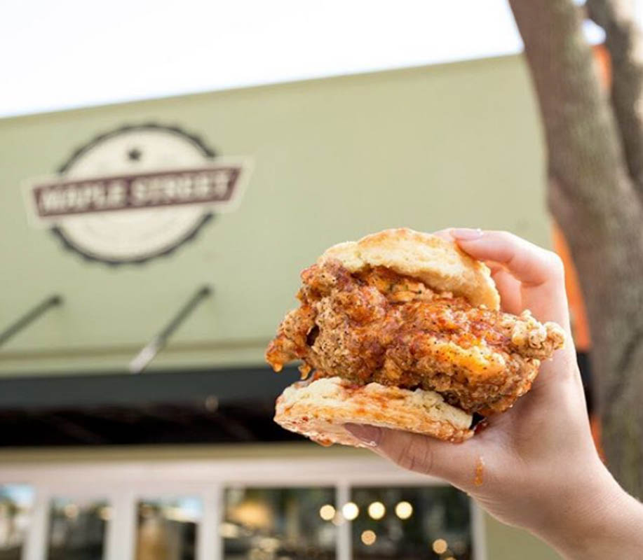 The Sticky Maple — flaky biscuit, all natural fried chicken breast and pecan wood-smoked bacon, all topped with Bissell Family real maple syrup.