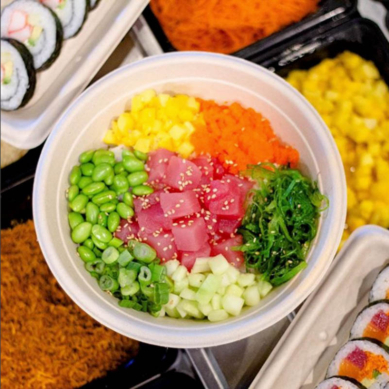 colorful and yummy sushi bowl