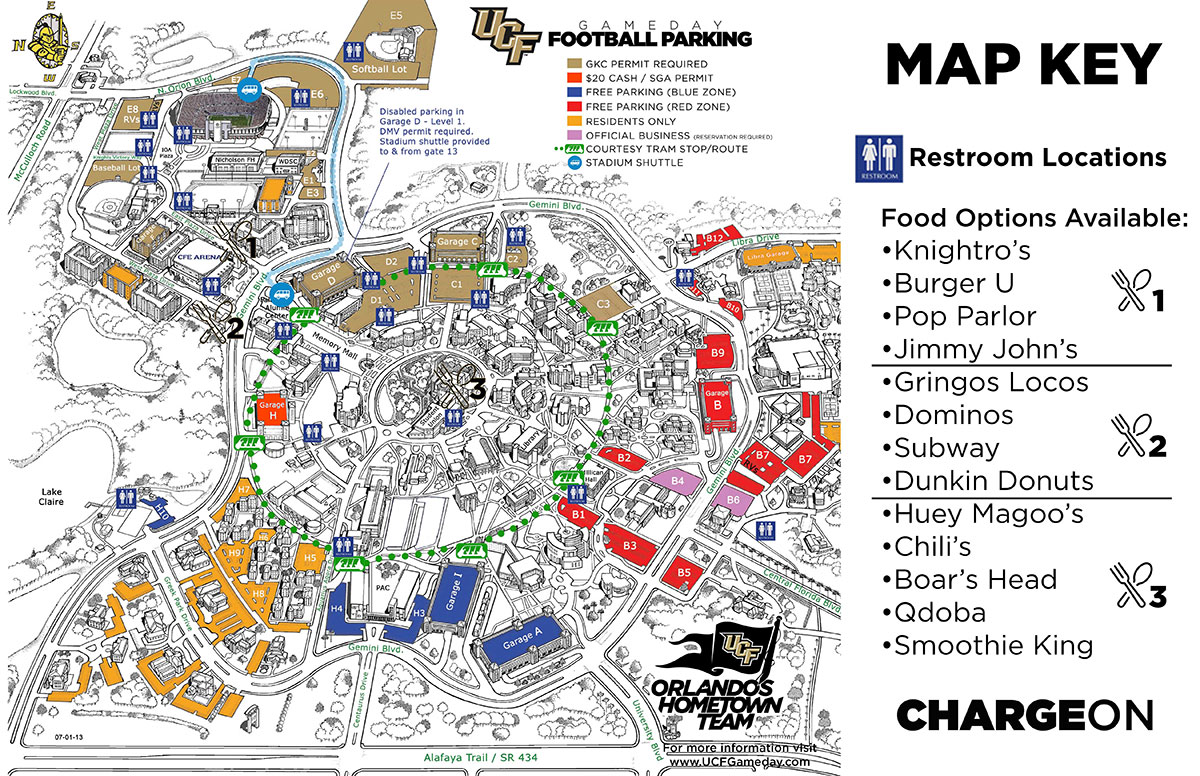map of game day parking garages and lots