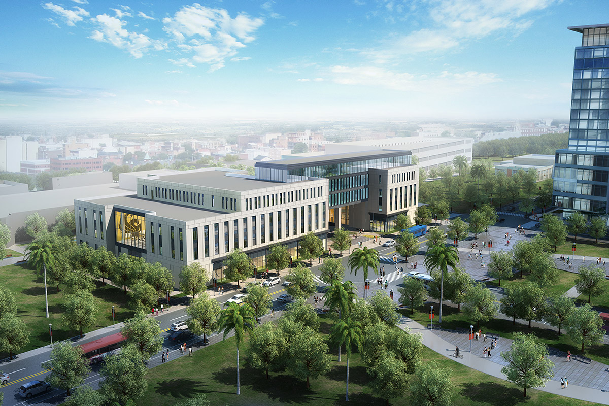 rendering of UCF Downtown campus building with a gold Pegasus logo featured on the exterior and a palm-tree lined street