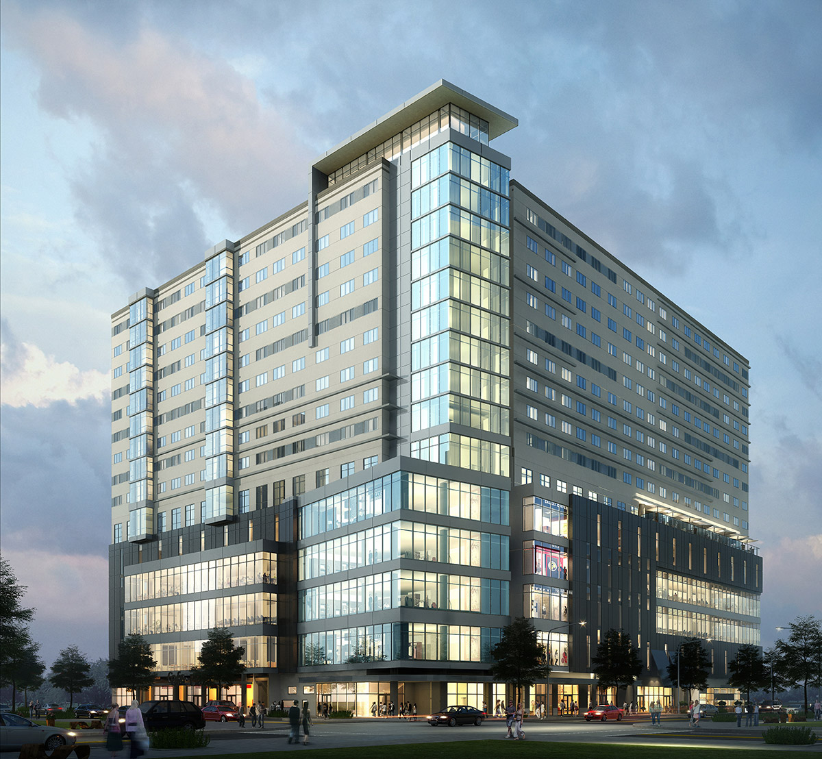 rendering of glass square building lit up at dusk