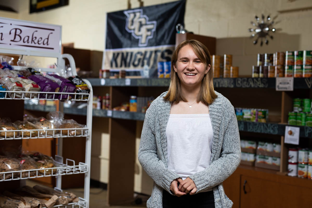 For the past two years, senior Johnna Gracik has been helping others at Knights Pantry, the on-campus facility that provides free food and essentials to UCF students. (Photo by Nick Leyva '15)