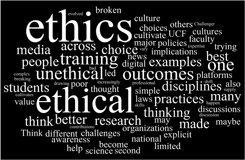 word cloud with topics such as ethics, outcomes, training, etc.