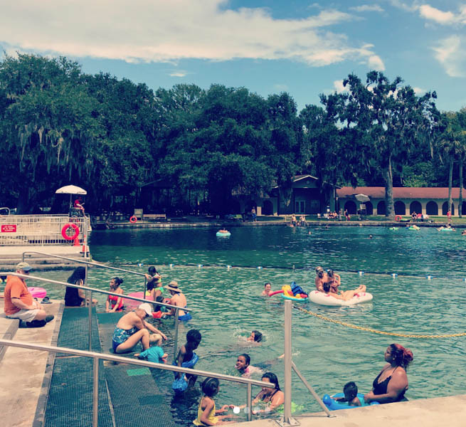 DeLeon Springs State Park pool filled with families