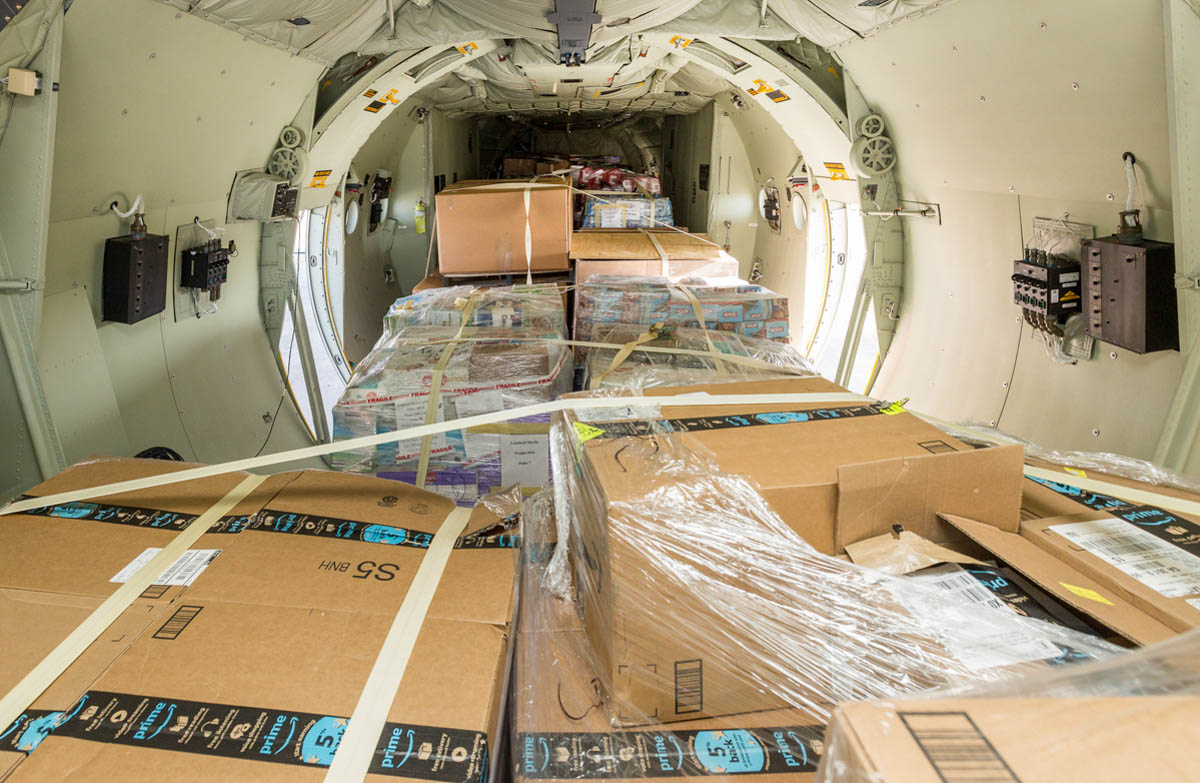 The aircraft Hawks helped organize to deliver supplies could only carry around 40,000 pounds at a time, so the Lockheed team had to make two trips to complete their mission. (Photo courtesy of Lockheed Martin)