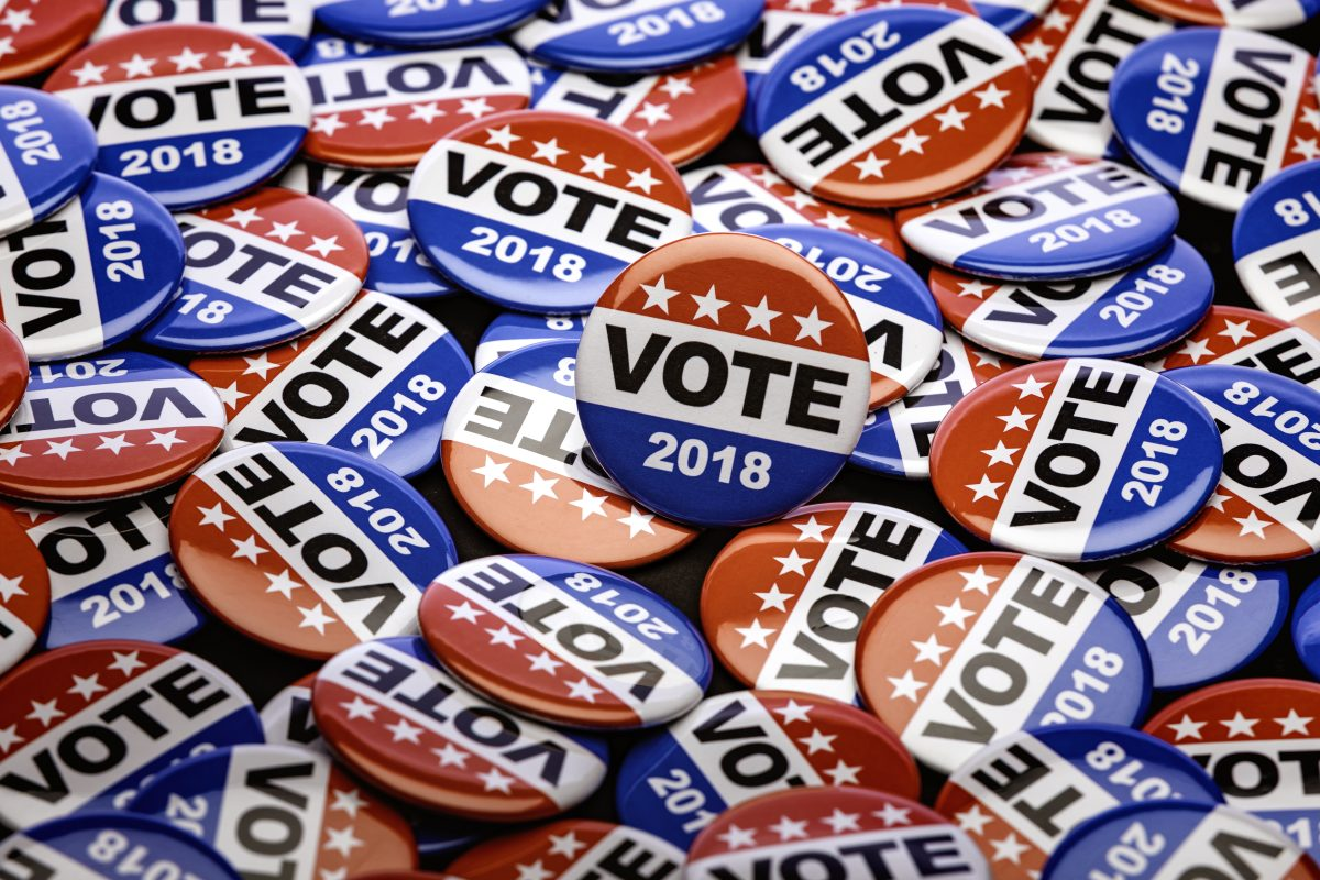 Photo of patriotic voting buttons for the mid term election.