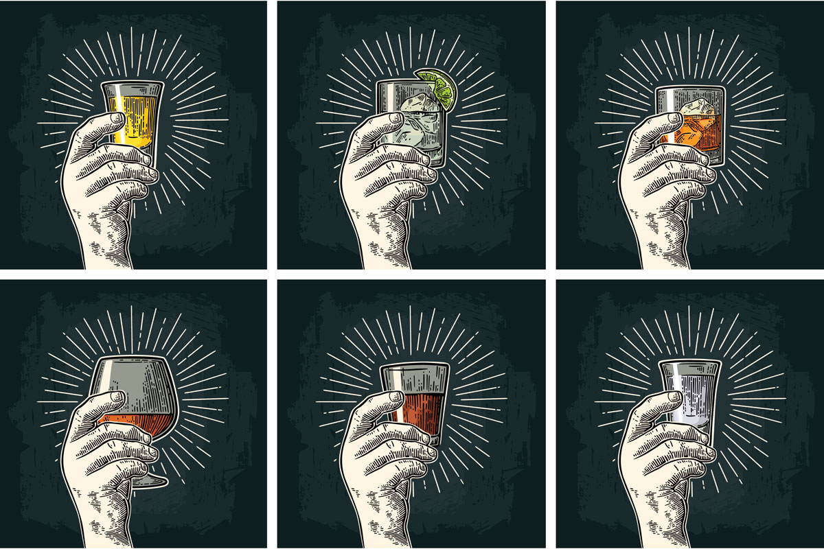 black and white chalk illustration of six hands holding six different glasses of beverages