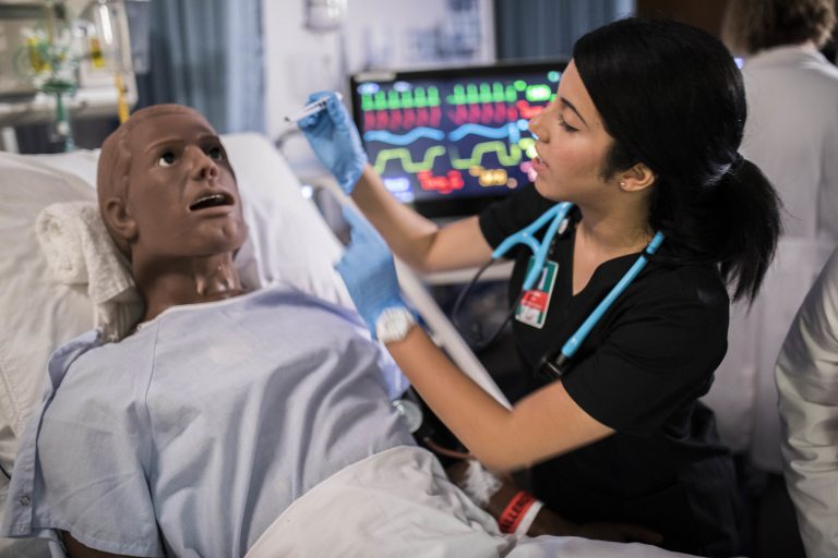 Acute care healthcare simulation lab in the College of Nursing