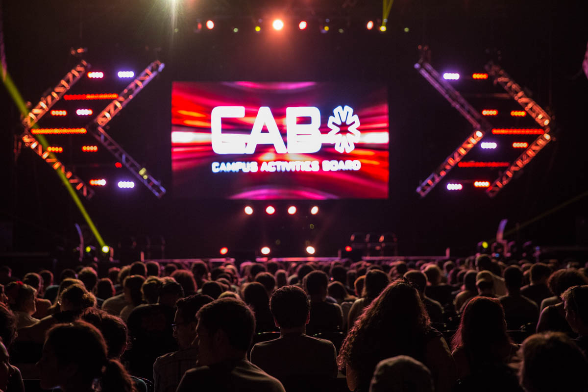 CAB helps to organize hundreds of events at UCF each year through it's eight different committees, which include Cinema, Concerts, Fine Arts, Marketing, Mr. & Miss UCF, Speakers, and Special Events.