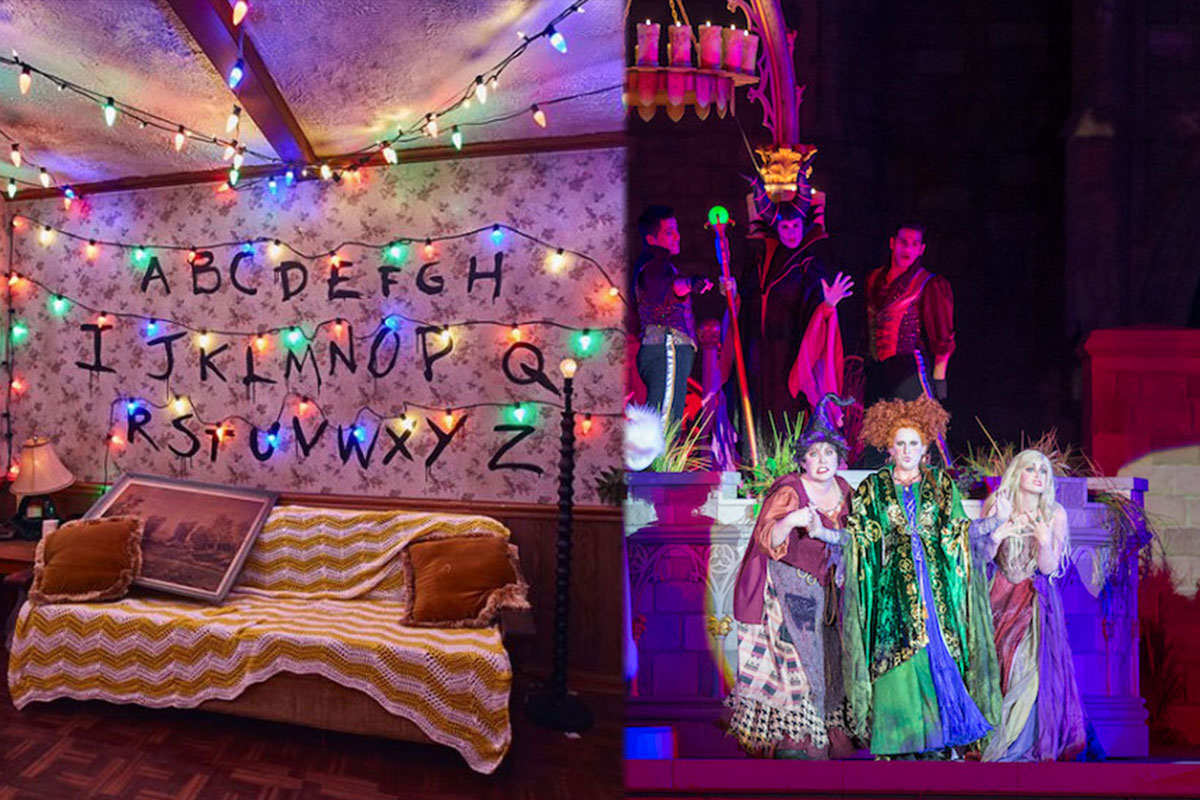 split photo of living room with multicolor holiday lights hung up and three witches dressed in colorful robes on stage)