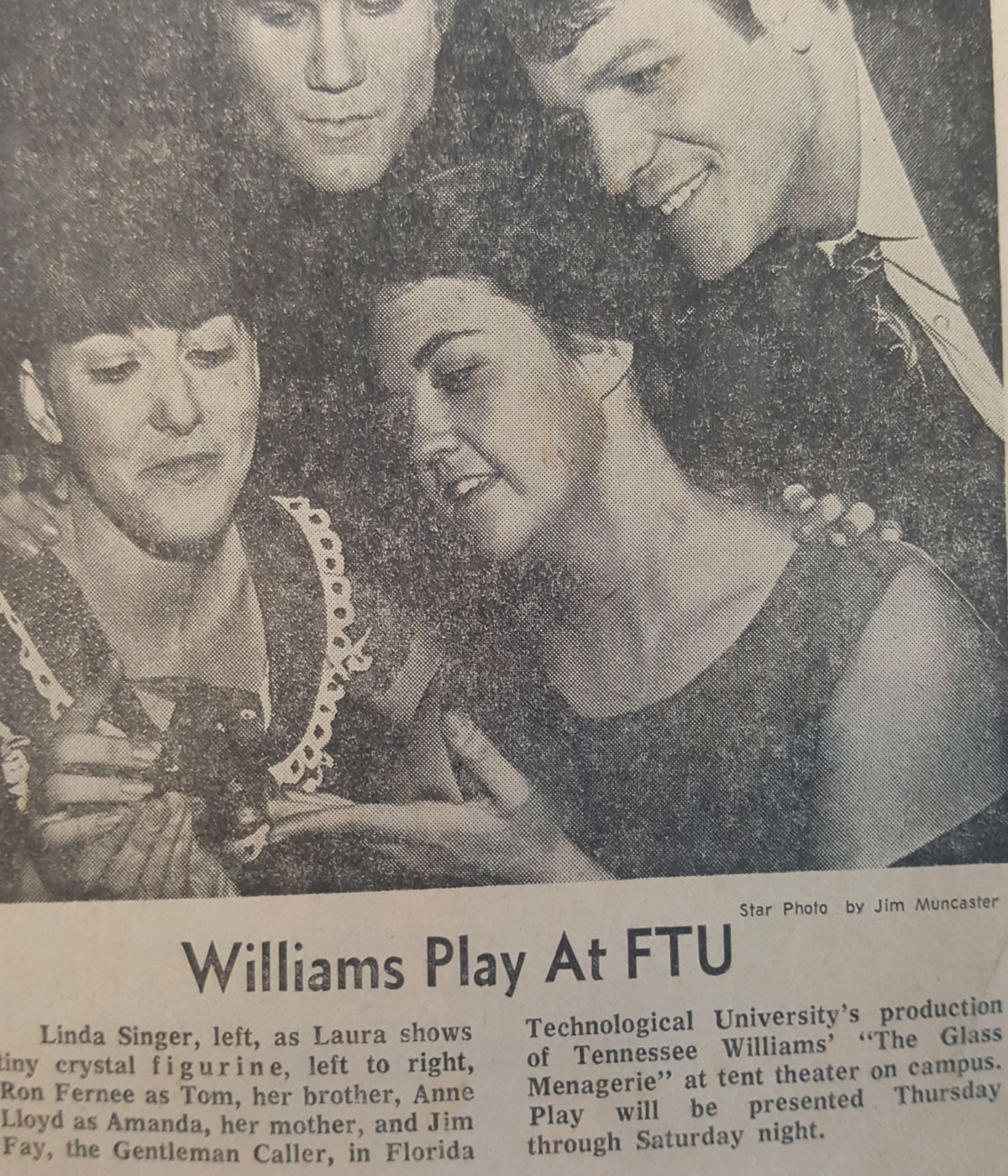 newspaper clipping of two women and two men with the headline Williams Play at FTU