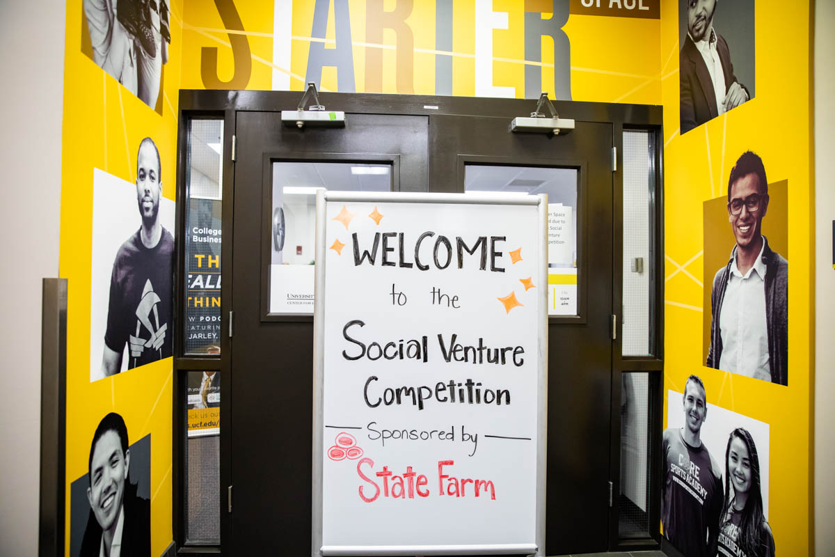 UCF's Social Venture Competition was held in the Starter Space, which is located in the Business Administration I building and serves as a multi-functional room for student entrepreneurial activities. (Photo by Nick Leyva '15)
