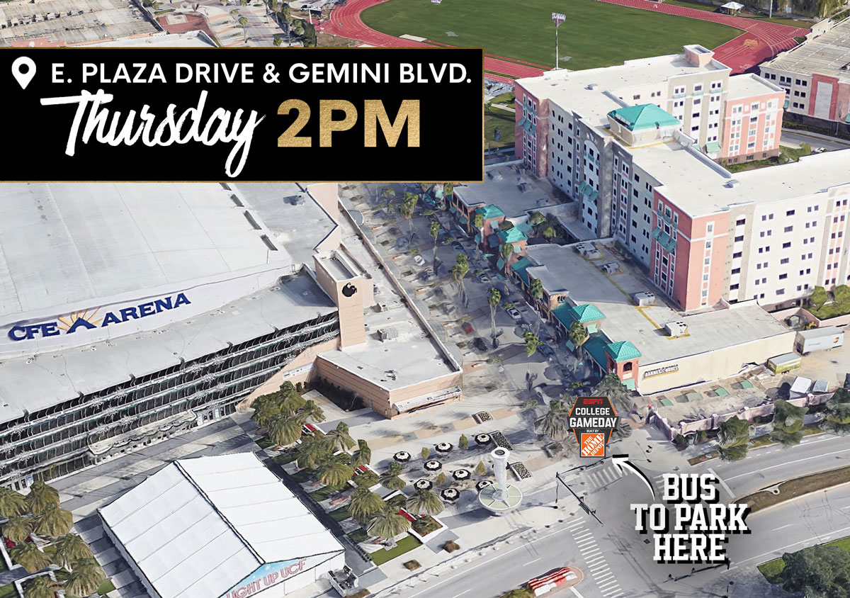 map showing the College GameDay bus on corner of East Plaza Drive and Gemini Blvd
