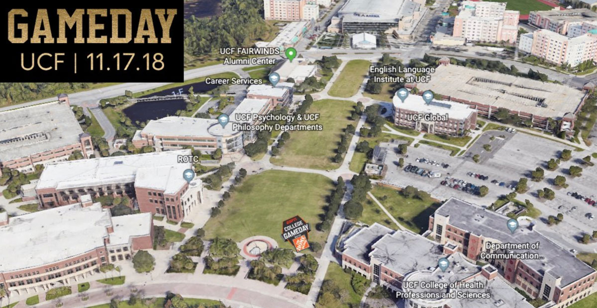Map of Memory Mall on UCF campus with a graphic of GameDay location in southeast corner