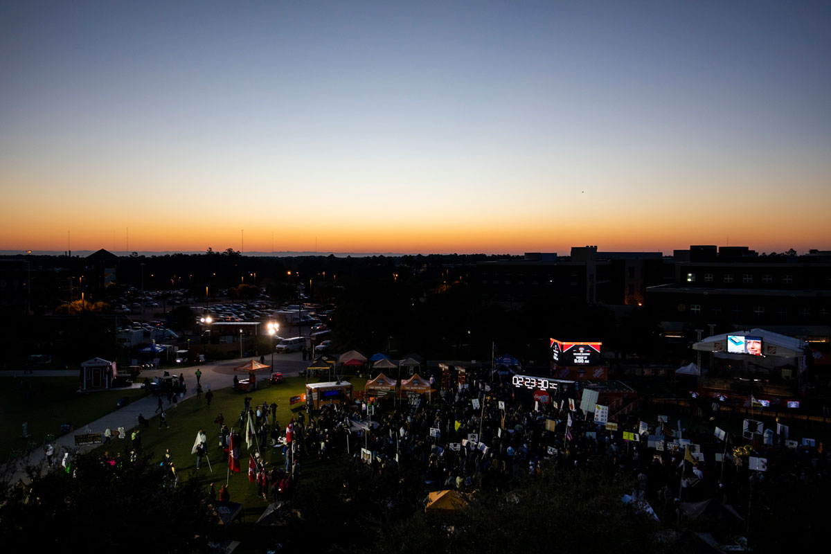 wide angle of sunrise over Memory Mall