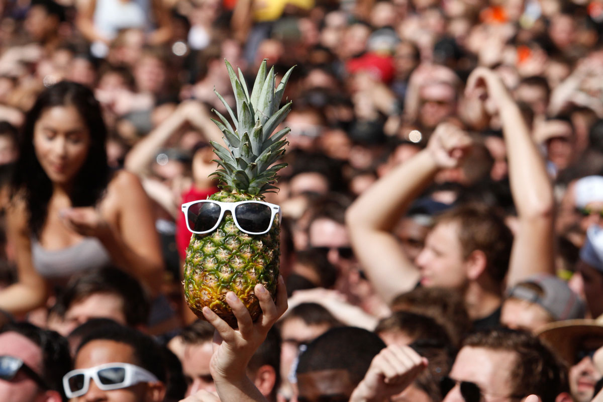 A hand holds up a pineapple wearing white sunglasses in a crowd of people