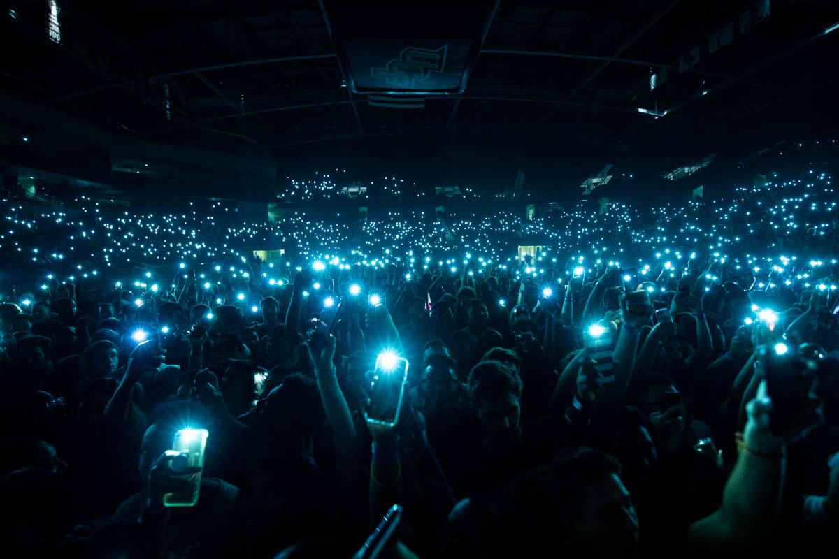 Students light up CFE Arena during Homecoming 2018's Concert Knight, which featured performances from rapper A$AP Ferg and singer Ella Mai.