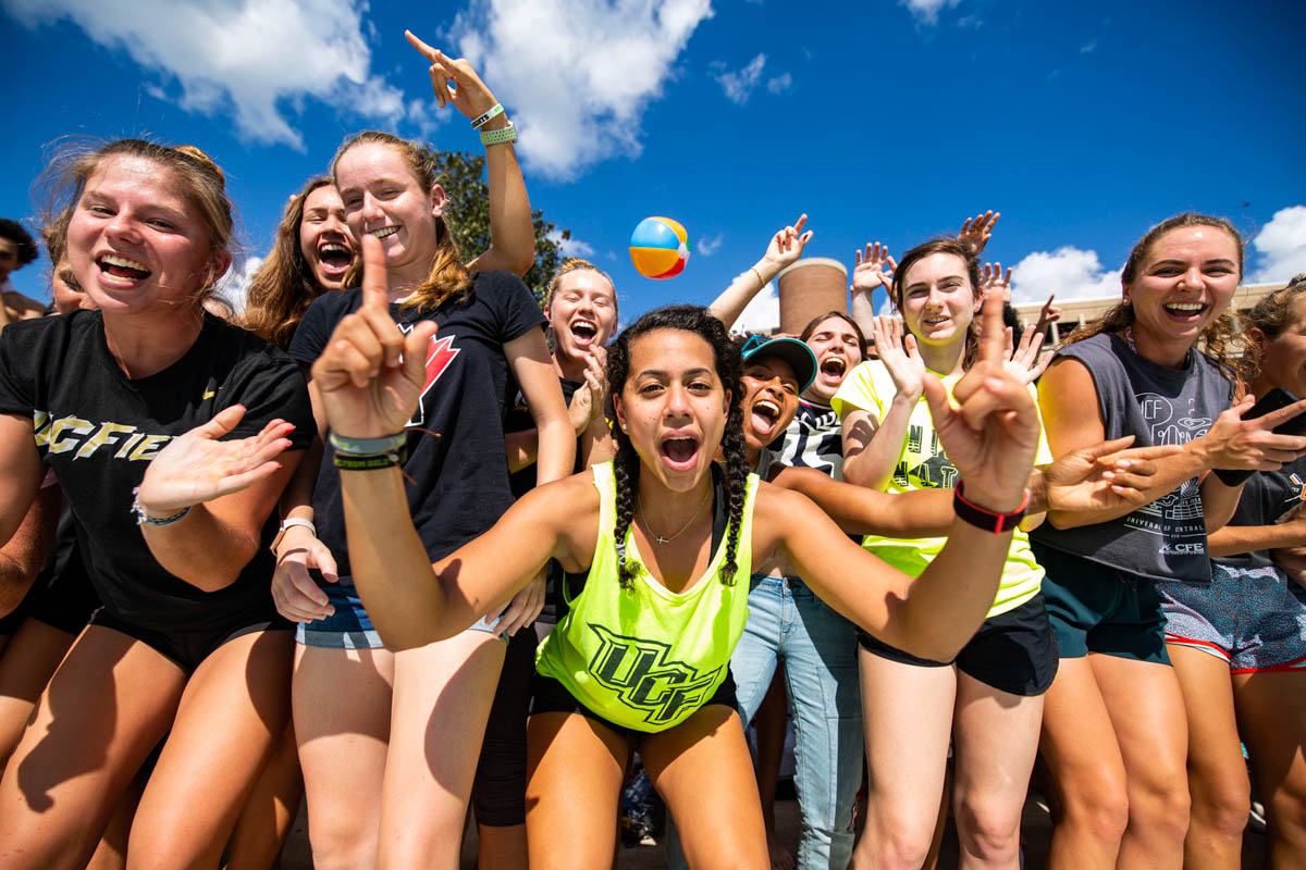 Students show off their excitement as they prepare to take part in UCF's biggest Homecoming tradition – Spirit Splash.