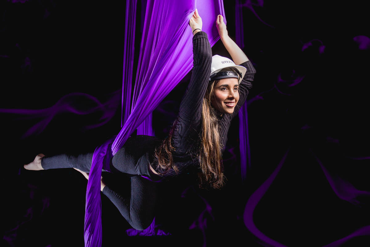 Engineering graduate student Estefania Bohorquez '17 shows off her aerial acrobatic skills.