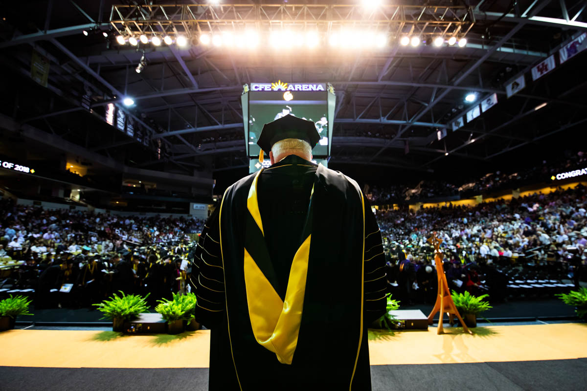 During his final commencement ceremonies, former UCF President John C. Hitt conferred degrees to more than 8,100 students.