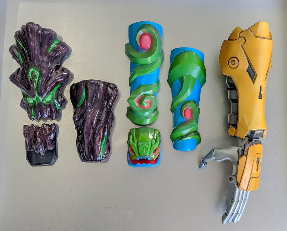 Some of the League of Legends designs created for Limbitless Solutions' prosthetics.