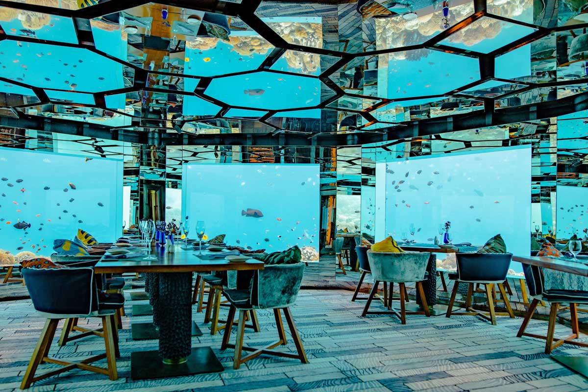 A restaurant enclosed by glass and underwater