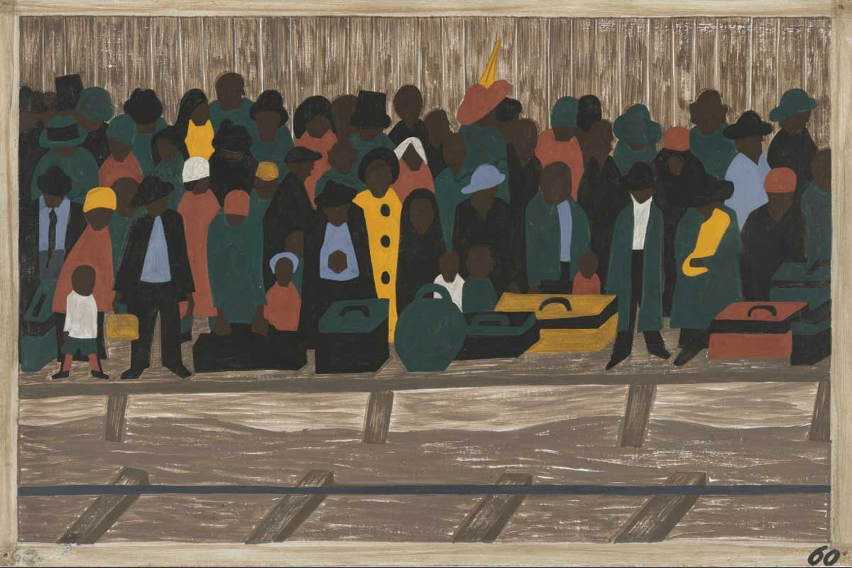 painting of a crowd of people in green, red and yellow clothing