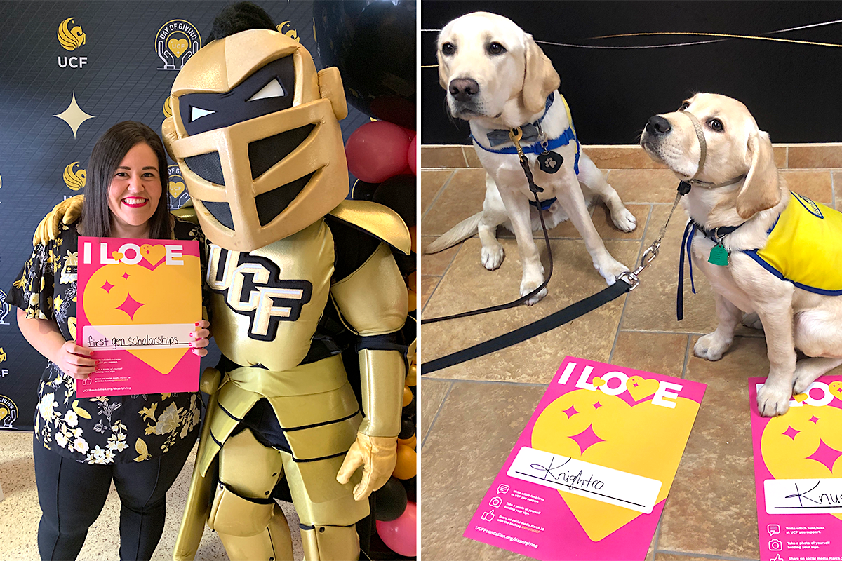 Woman holds sign with yellow heart and stands next to Knightro; two dogs pose