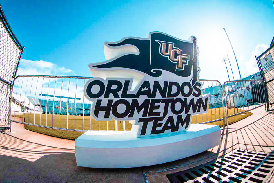 Orlando Hometown Team sign in football stadium on sunny day