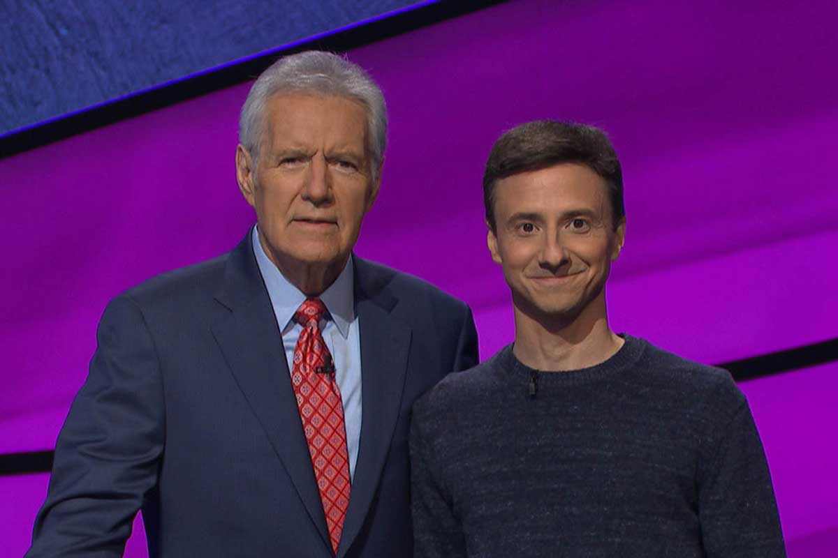 Jeopardy! host Alex Trebek with contestant Imar DaCunha.