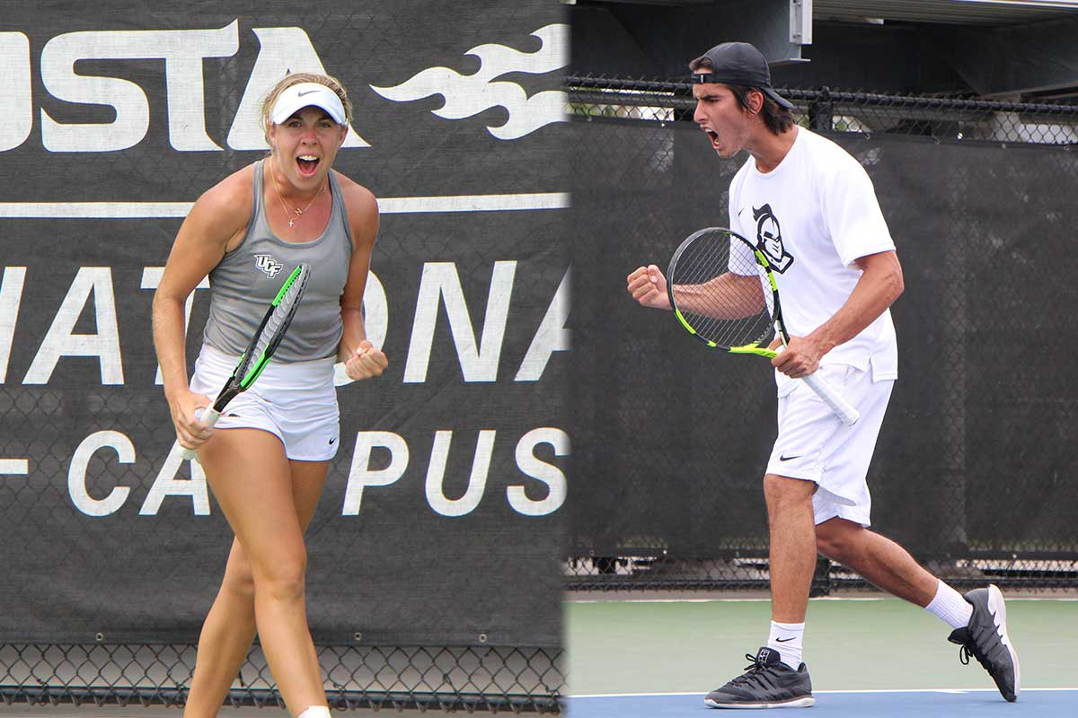 Male and female tennis players clench fist and racket in celebration