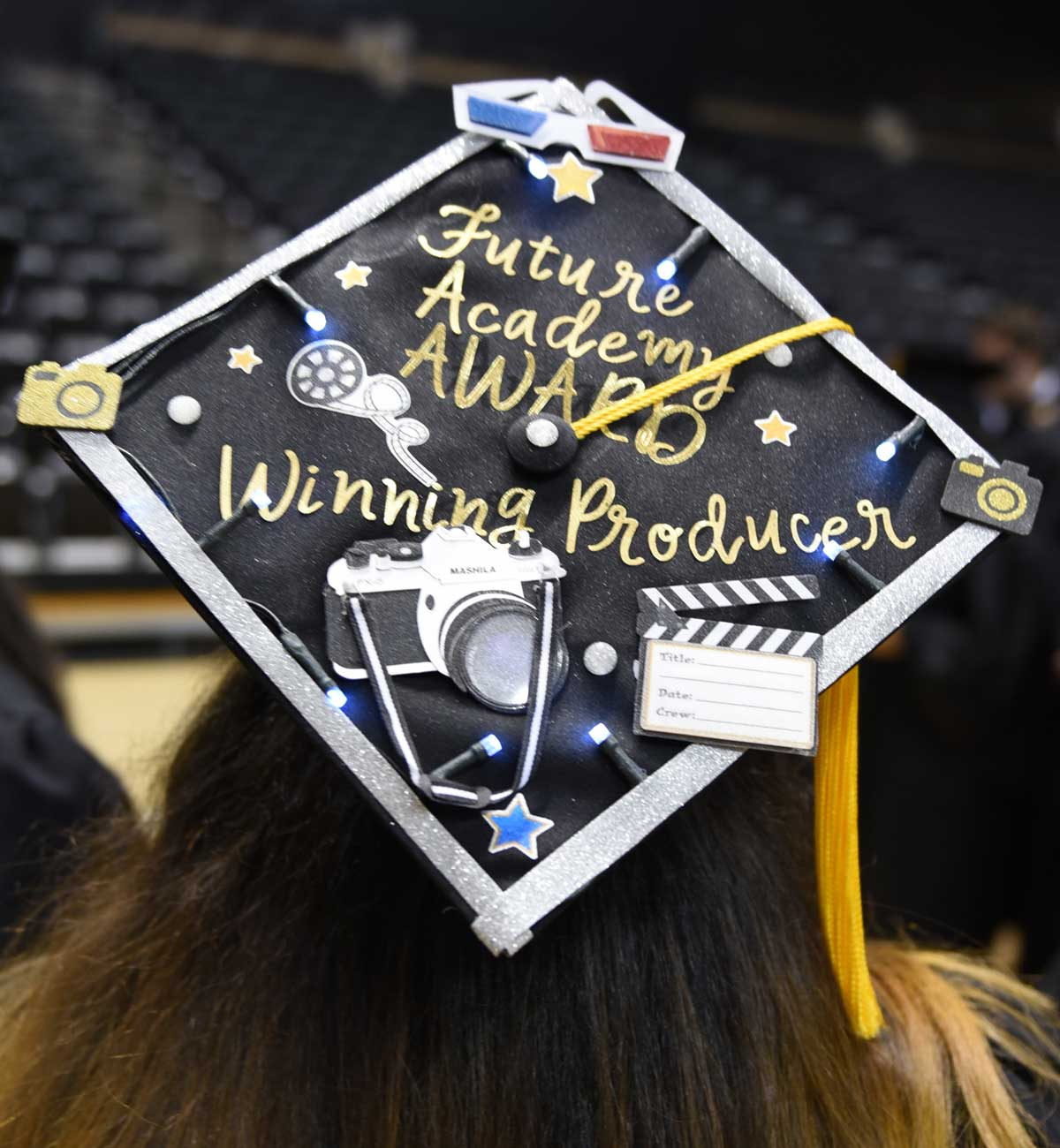 Grad cap decorated with text: Future Academy Award winning producer