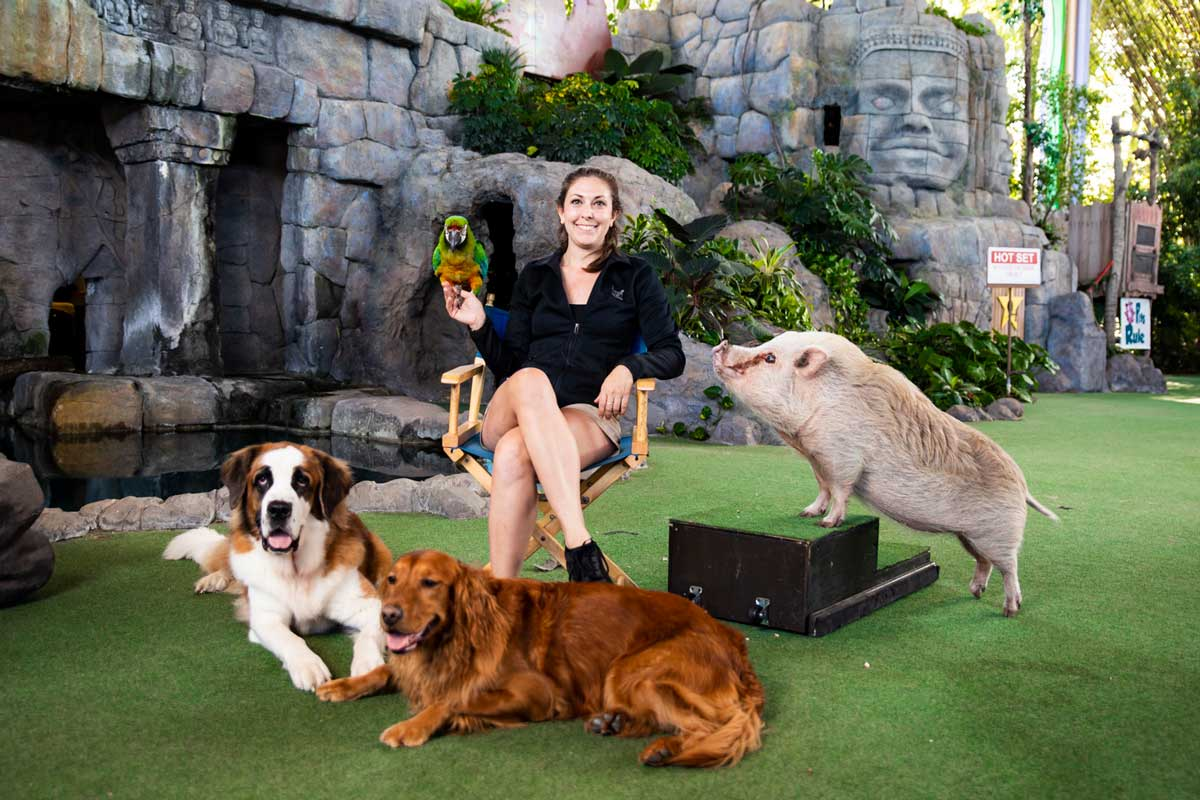 Woman sits in director chair with two dogs, pig and parrot surrounding her