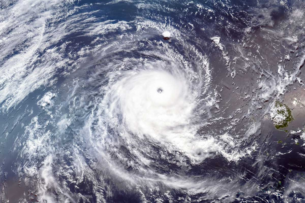 satellite view of hurricane in ocean