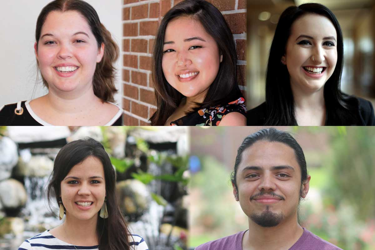 Collage of five headshots of Fulbright Award recipients
