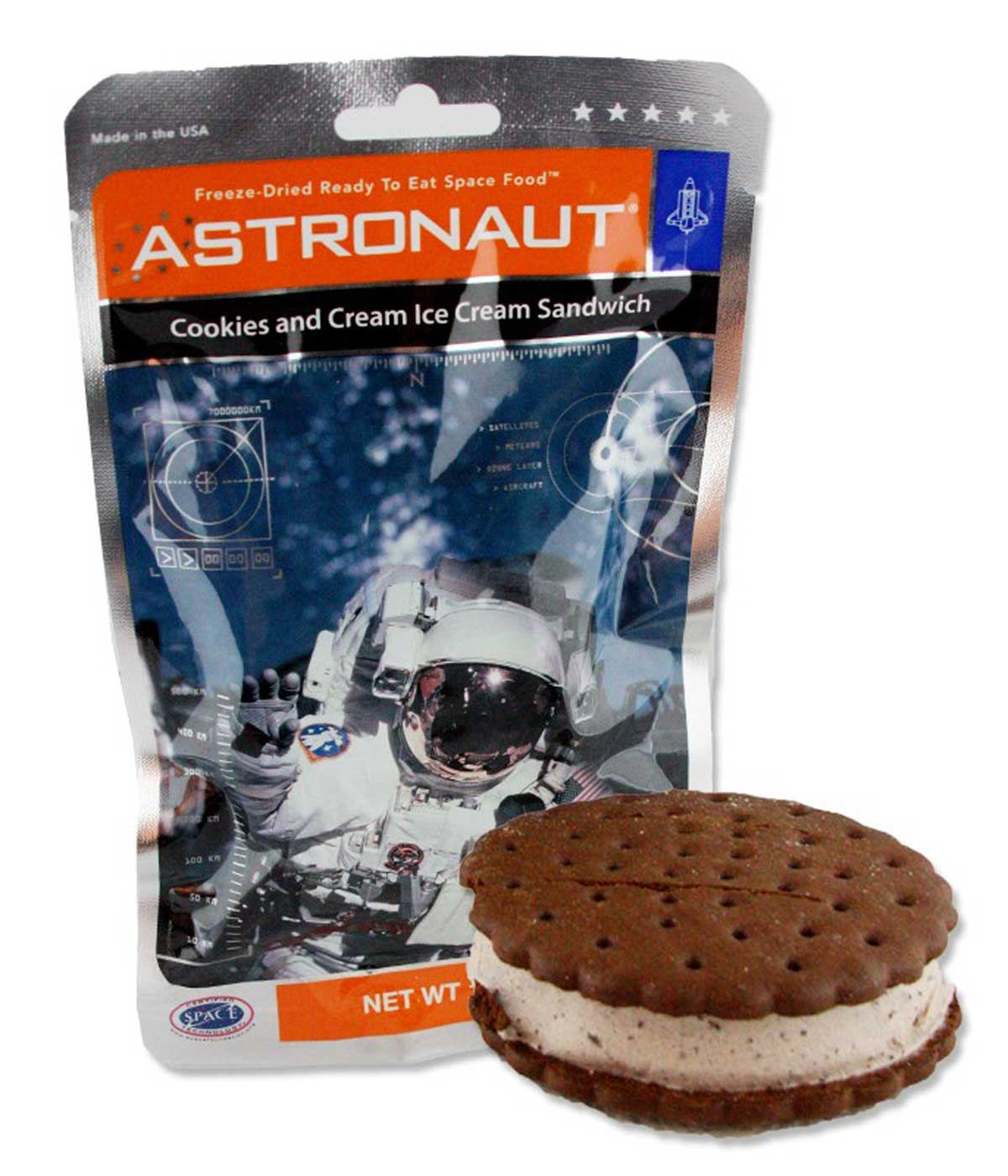 package of Astronaut ice cream and an ice cream sandwich