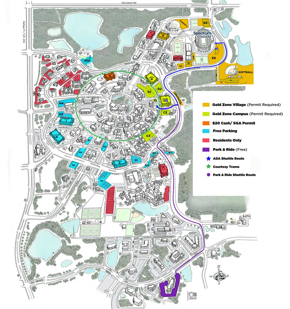 map of UCF campus that shows parking lots and shuttle routes