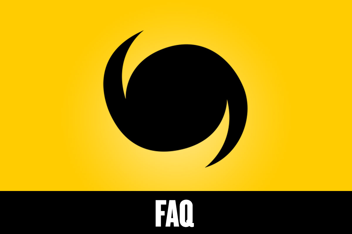 A black and yellow graphic with a hurricane symbol and FAQ