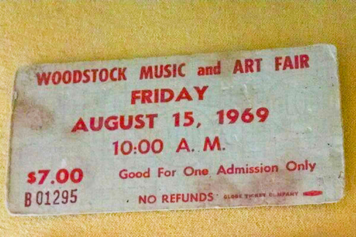 old ticket for entry to Woodstock for Aug. 15, 1969