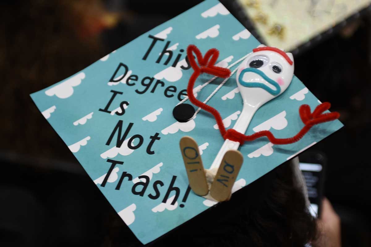 "Decorated grad cap: Forky from Toy Story 4 ""This Degree is Not Trash"""