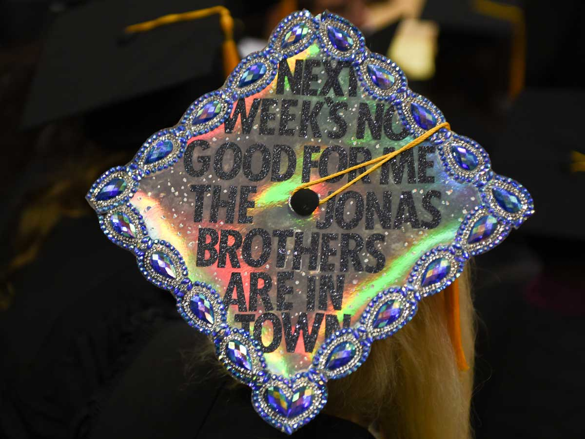 decorated grad cap: Next week's no good for me. The Jonas Brothers are in town