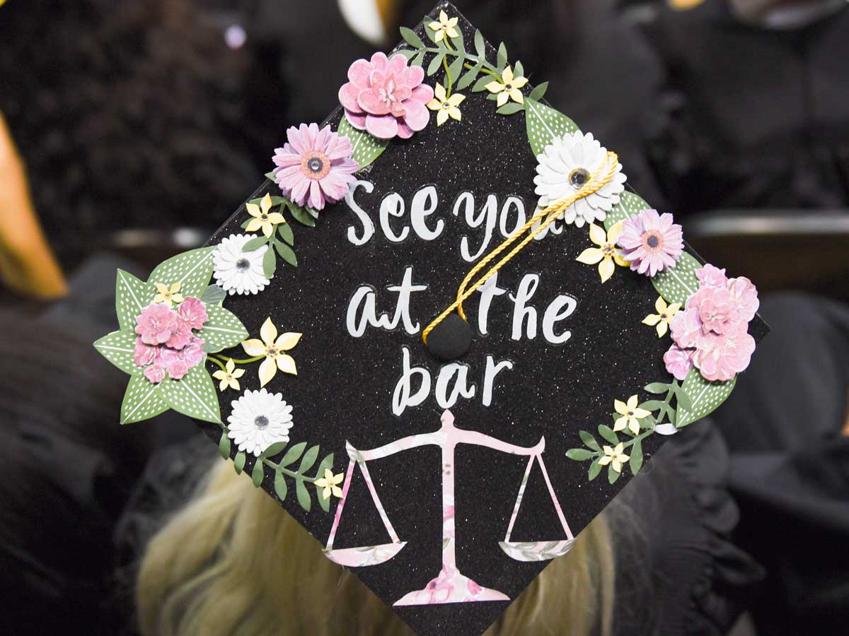 decorated grad cap: See you at the bar with scales of justice