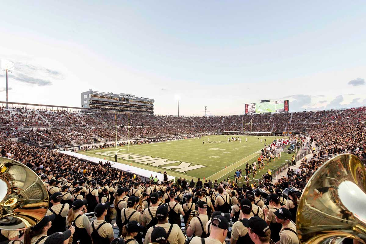 Spectrum Stadium full of fans on a clear day